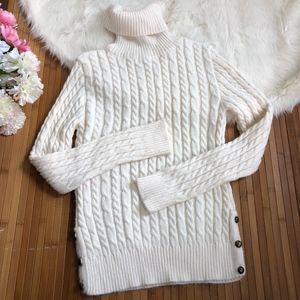 "Zara ""knit"" knitted turtleneck sweater button hem"